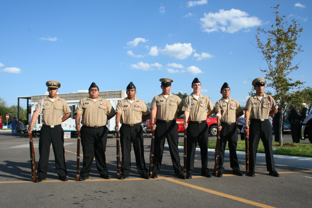 The Moody NJROTC presented the colors at the National Night Out kick-off event at the HEB on Kostoryz.