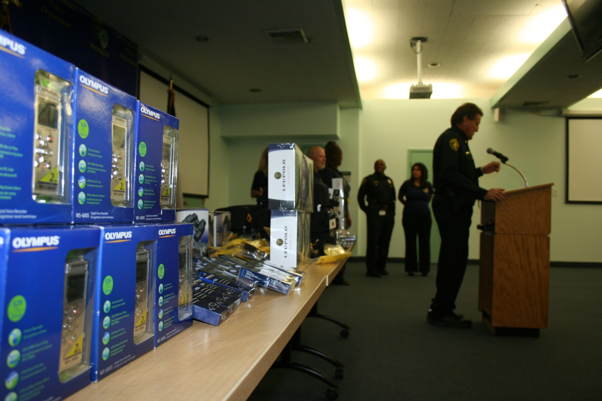 Commander John Houston thanks the Citizens Police Academy Alumni for the donated equipment at Police Headquarters