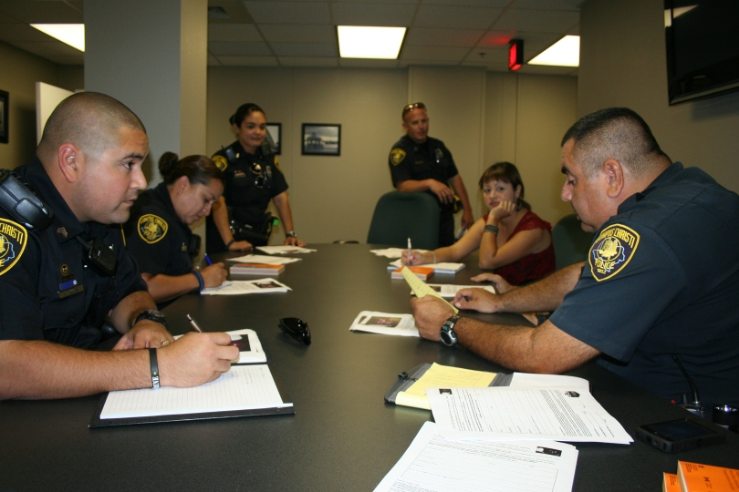 Corpus Christi Police Officers set thier strategy to meet with the staff of each High School in Corpus Christi to advertise the contest.