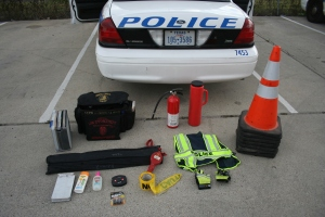 This is some of the inventory in a Corpus Christi Police Patrol Car
