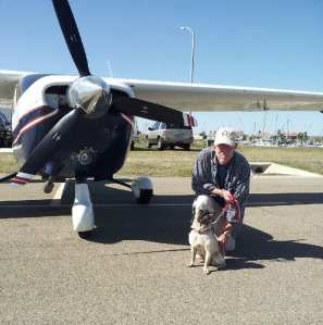 Gucci and her rescue pilot, Wade Roberts of Pearland, Tx.