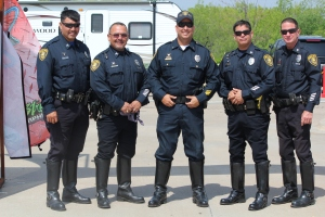 Senior Officers T. Cabello; B. Nunez; Lieutenant I. Soza; L. Lopez; and J. Elliott competed in the Motorcycle Skills Competition in Grand Prairie, Texas