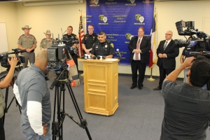 Police Commander Mark Gutierrez delivers information to the media about the Summer Crime Initiative with a multiple partner agencies.