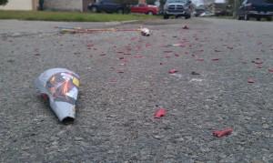 Spent fireworks litter Corpus Christi residential streets