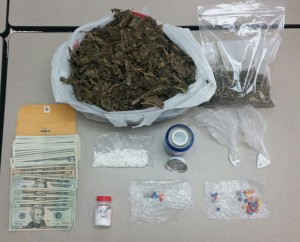 approximately 3.5 pounds of marijuana, 39.73 grams of alprazolam, 14.11 grams of ecstasy pills, and 11.67 grams of cocaine