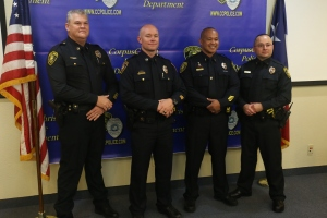 (left to right) Captain Kevin Bolles; Captain Donnie Moore; Lieutenant Mel Goce; and Lieutenant David Saldana
