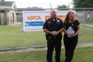 Corpus Christi Police Captain, Chris White, the Animal Care Services Manager, and Dr. Melissa Draper, the veterinarian for Corpus Christi Animal Care Services, announce the movement of 22 dogs from the facility to Minnesota to gain forever homes.