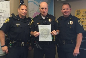 (Left) Delta District Captain Robert Alvarado, Lieutenant Brian Hill, and Police Operations Commander David Blackmon