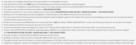 prop money disclaimer