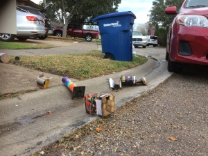 Spent fireworks containers litter the 6100 block of Allencrest New Years morning in 2017.