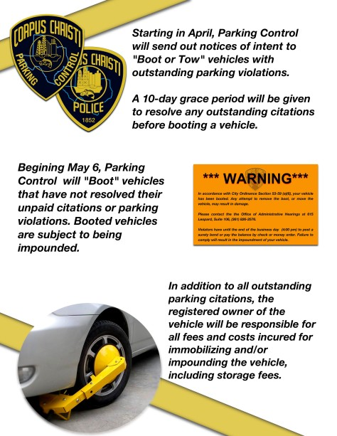 Parking Control Flyer Booting 3-19-2019