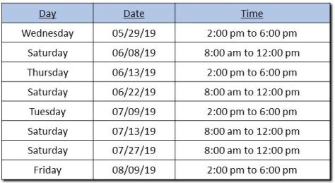 VIN Stamping Schedule